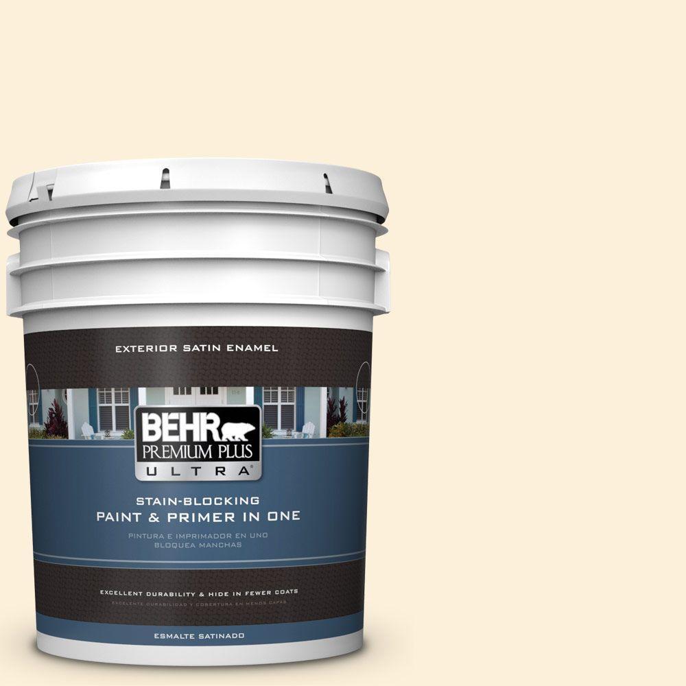 BEHR Premium Plus Ultra 5-gal. #310A-1 Ivory Invitation Satin Enamel Exterior Paint