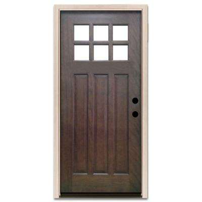 Craftsman 6 Lite Stained Mahogany Wood Prehung Front Door  sc 1 st  The Home Depot & Hickory - Wood Doors - Front Doors - The Home Depot pezcame.com