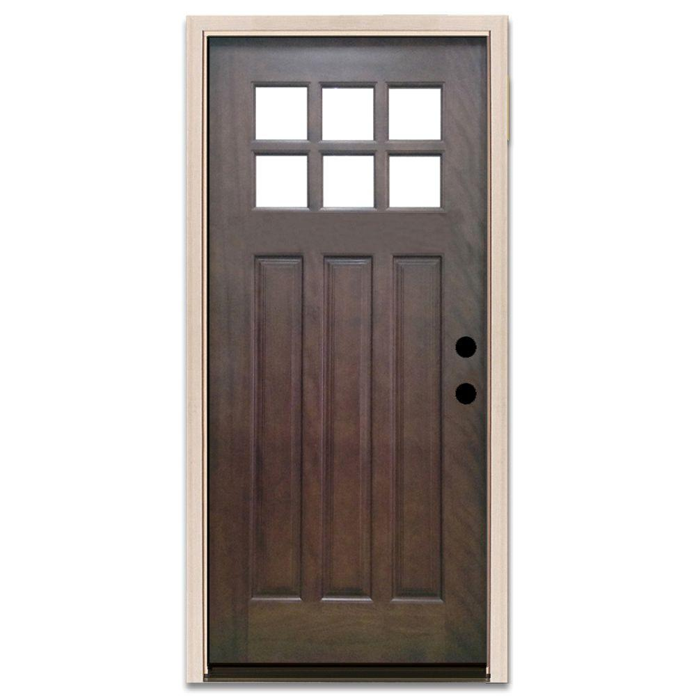 Steves sons 32 in x 80 in craftsman 6 lite stained for 8 lite exterior door