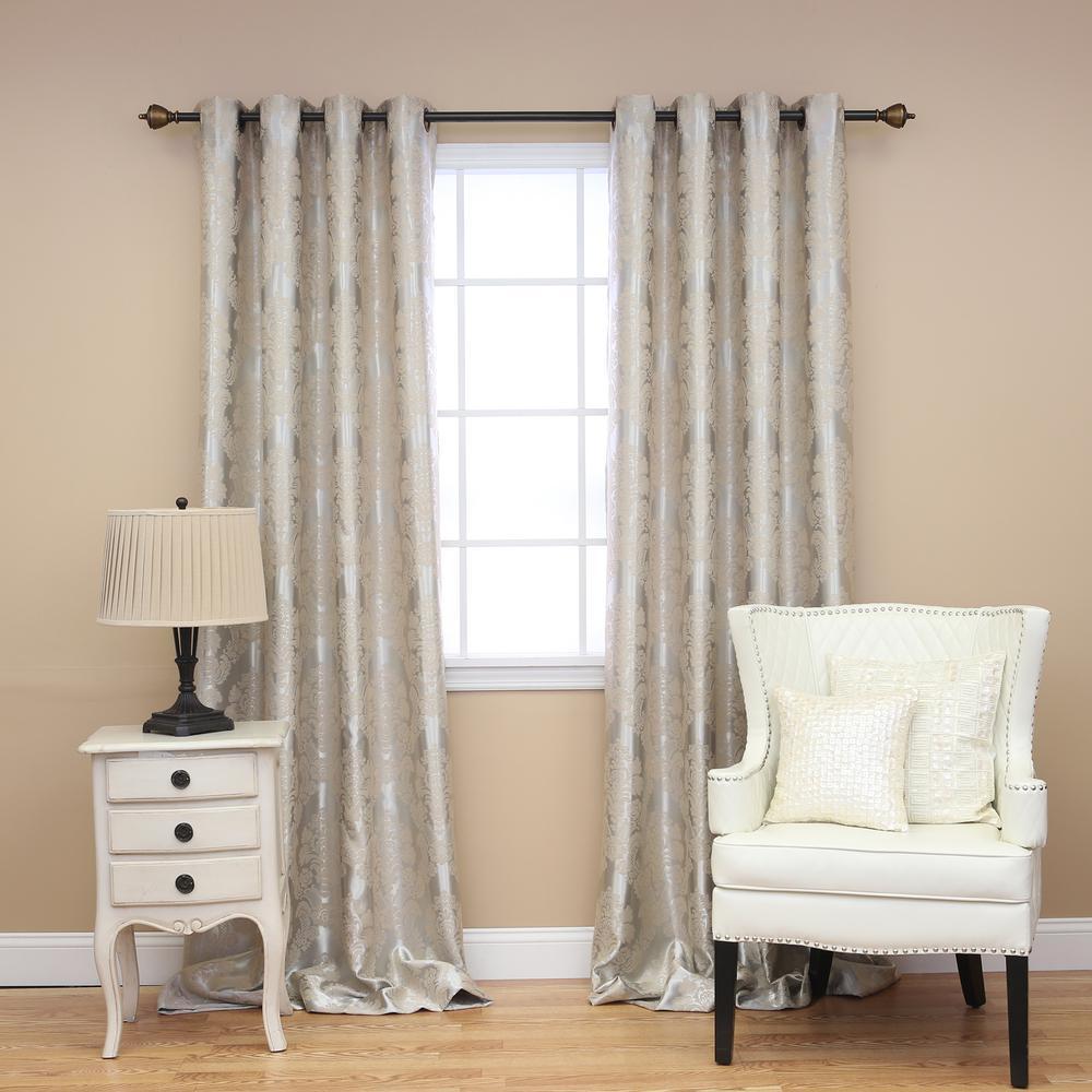 best home fashion 96 in l beige blackout damask curtain. Black Bedroom Furniture Sets. Home Design Ideas