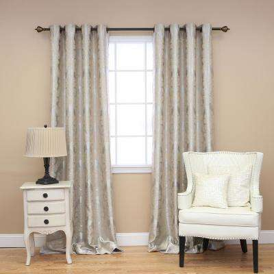 96 in. L Beige Blackout Damask Curtain Panel (2-Pack)