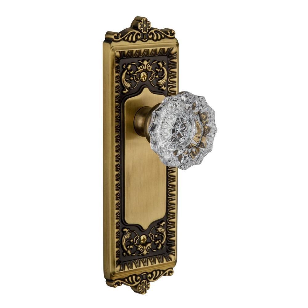 Grandeur Windsor Vintage Brass Plate with Privacy Versailles Crystal Knob