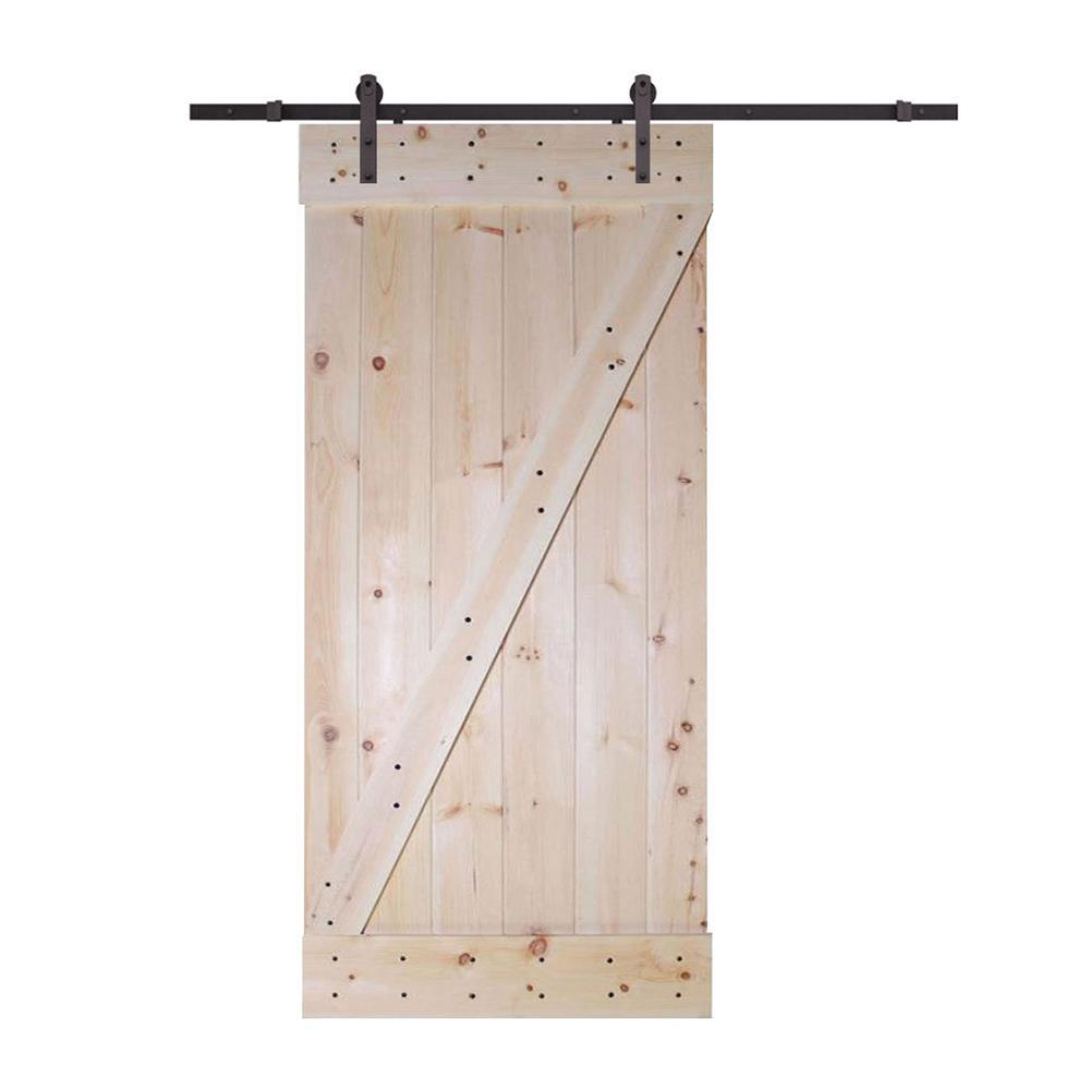 CALHOME 30 in. x 84 in. Z-Bar unfinished Wood Sliding Barn Door with Sliding Door Hardware Kit, Nature was $369.0 now $239.0 (35.0% off)