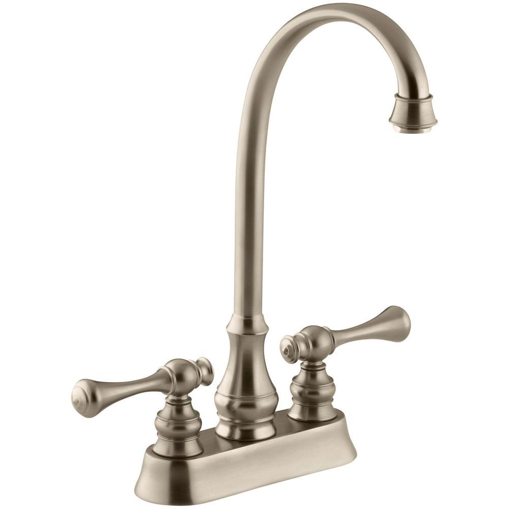 KOHLER Revival 2-Handle Bar Faucet with Traditional Lever Handles in Vibrant Brushed Bronze