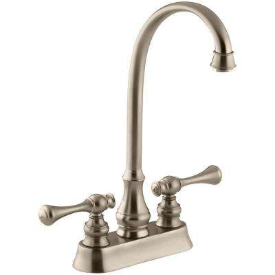 Revival 2-Handle Bar Faucet with Traditional Lever Handles in Vibrant Brushed Bronze