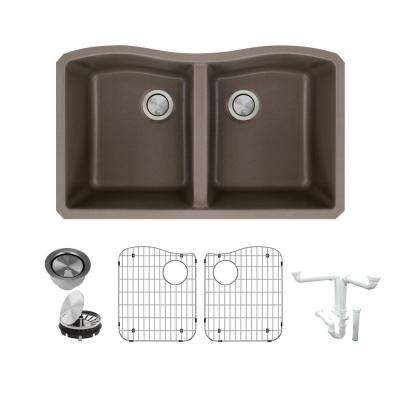 Aversa All-in-One Undermount Granite 32 in. Equal Double Bowl Kitchen Sink in Espresso