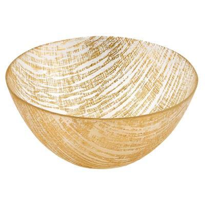 11 in. D Gold Lines Handcrafted Glass Bowl