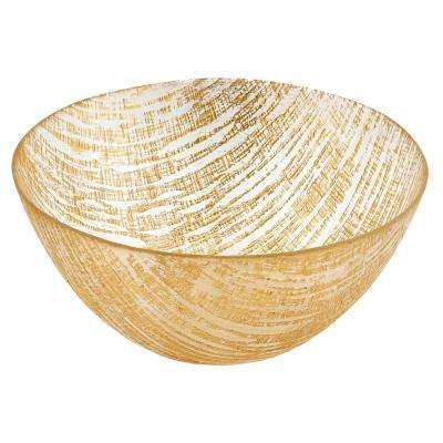 8.75 in. D Gold Lines Handcrafted Glass Bowl