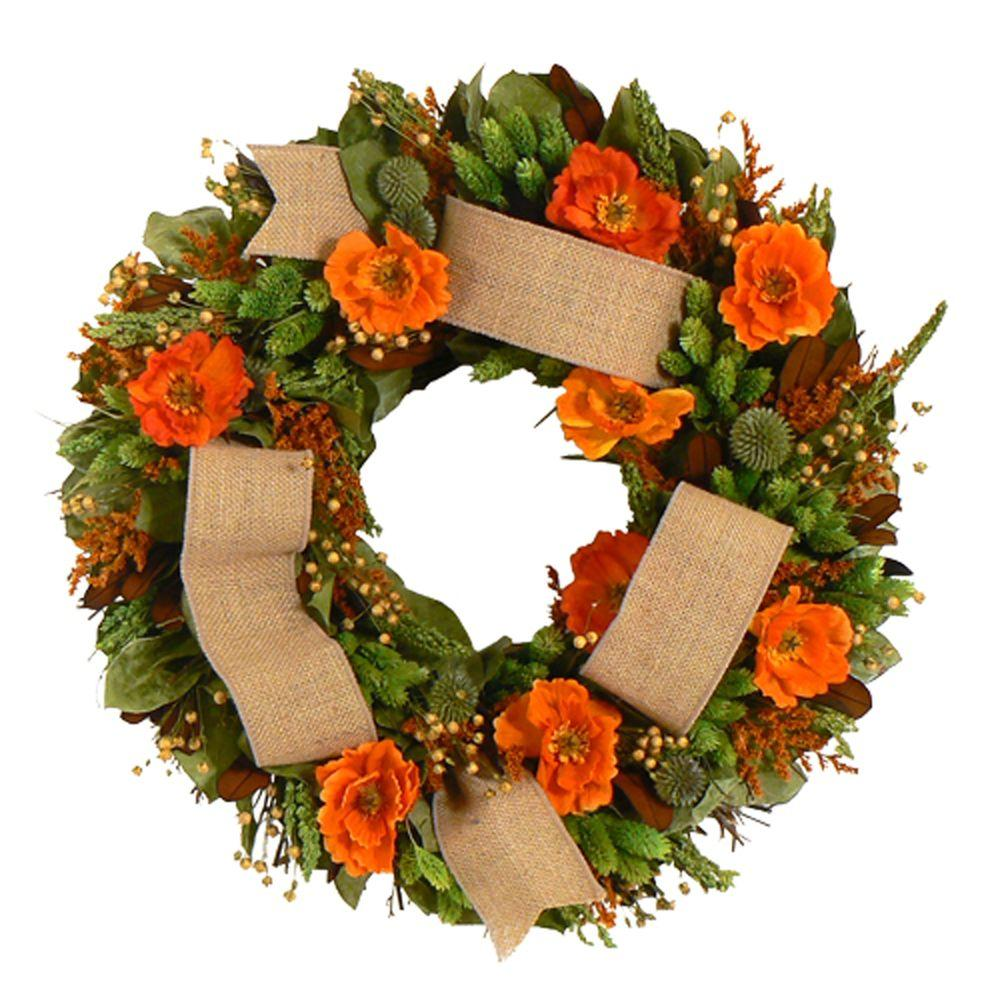 The Christmas Tree Company Splendid Poppy 18 in. Dried Floral Wreath-DISCONTINUED