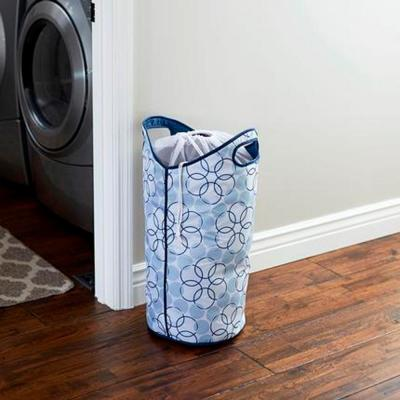 Blue Softside Collapsible Polyester Hamper