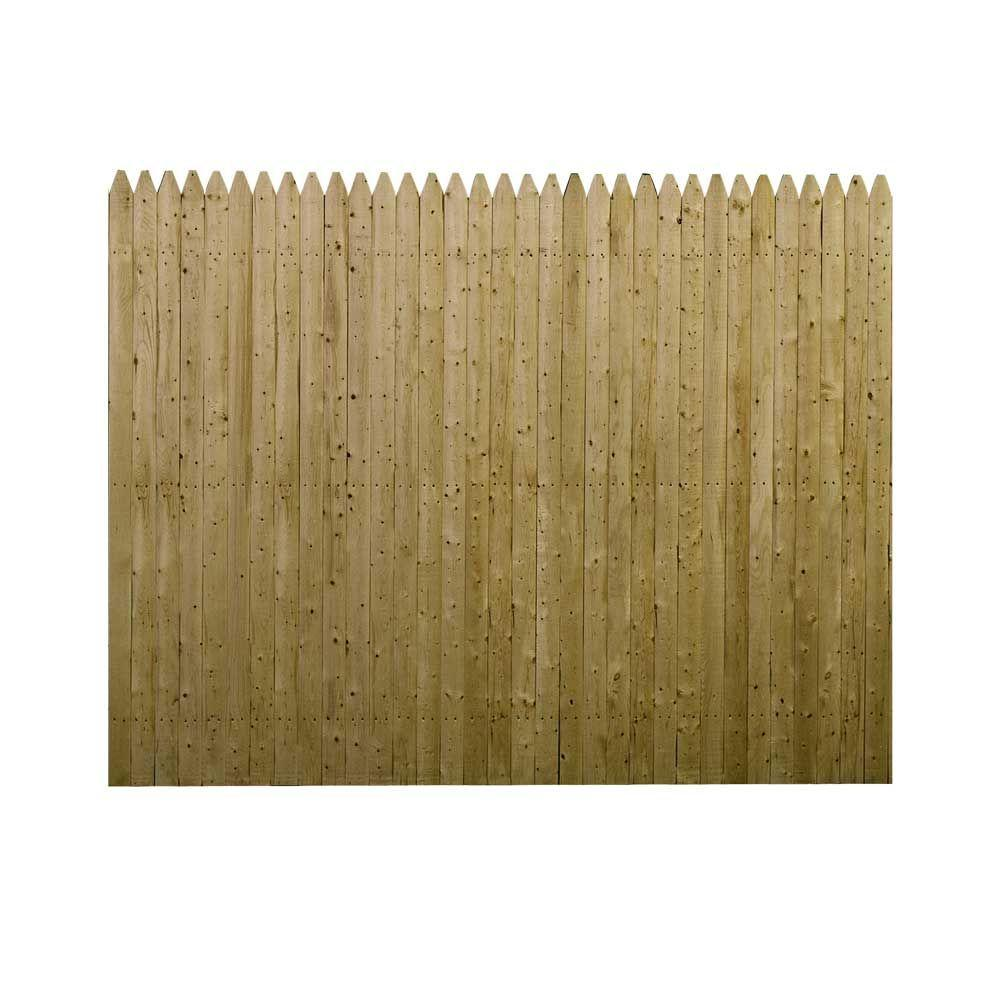 6 ft. H x 8 ft. W Pressure-Treated Spruce Pine Fir 3 in. Dowelled Gothic Stockade Fence Panel