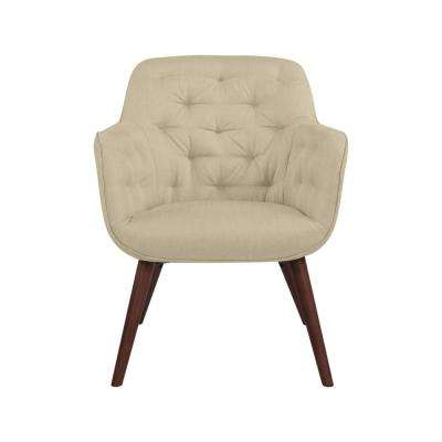 Gilda Creamy Tan Oatmeal Textured Linen Tufted Arm Chair