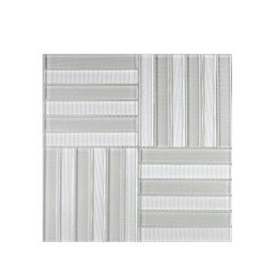 Uptown Parquet Off white 11.625 in. x 11.625 in. Glossy Glass Mosaic Tile (0.938 sq. ft./Each)