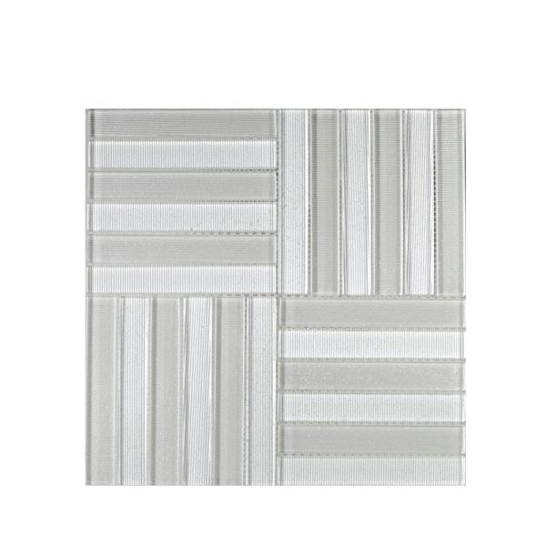 Uptown Parquet 11.625 in. x 11.625 in. x 8 mm Glass Mosaic Tile