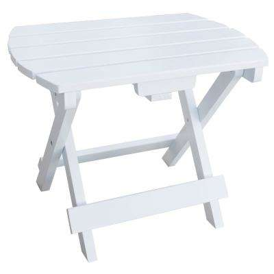 White Wood Outdoor Side Table with Painted