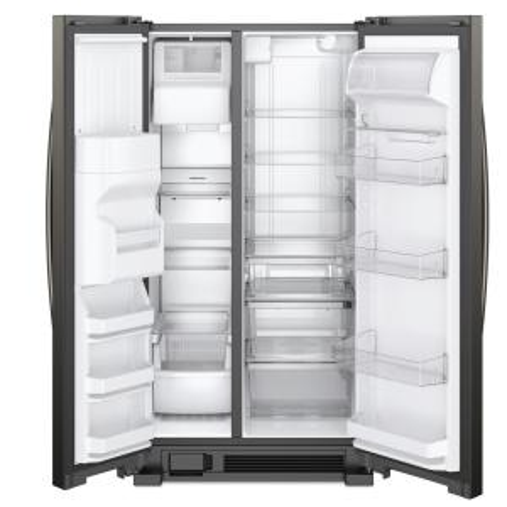 Whirlpool 25 cu  ft  Side by Side Refrigerator in Fingerprint Resistant  Black Stainless