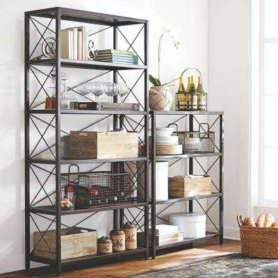 Ryan Burnished Black Open Bookcase