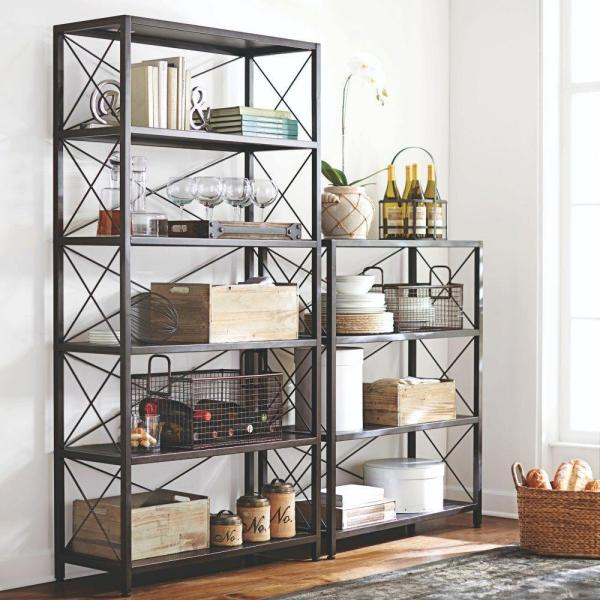 Home Decorators Collection 72 In Burnish Black Metal 6 Shelf Etagere Bookcase With Open Back 2838310210 The Home Depot
