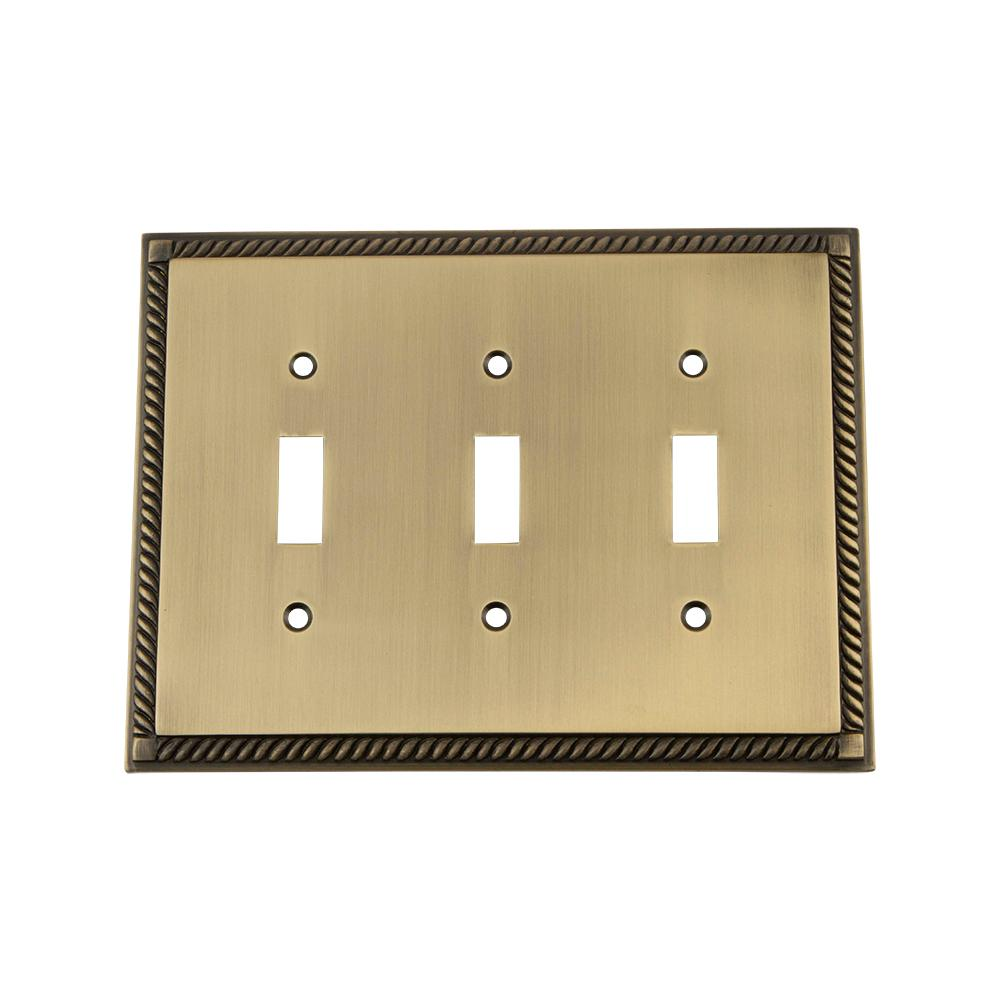 Nostalgic Warehouse Rope Switch Plate with Triple Toggle in Antique Brass