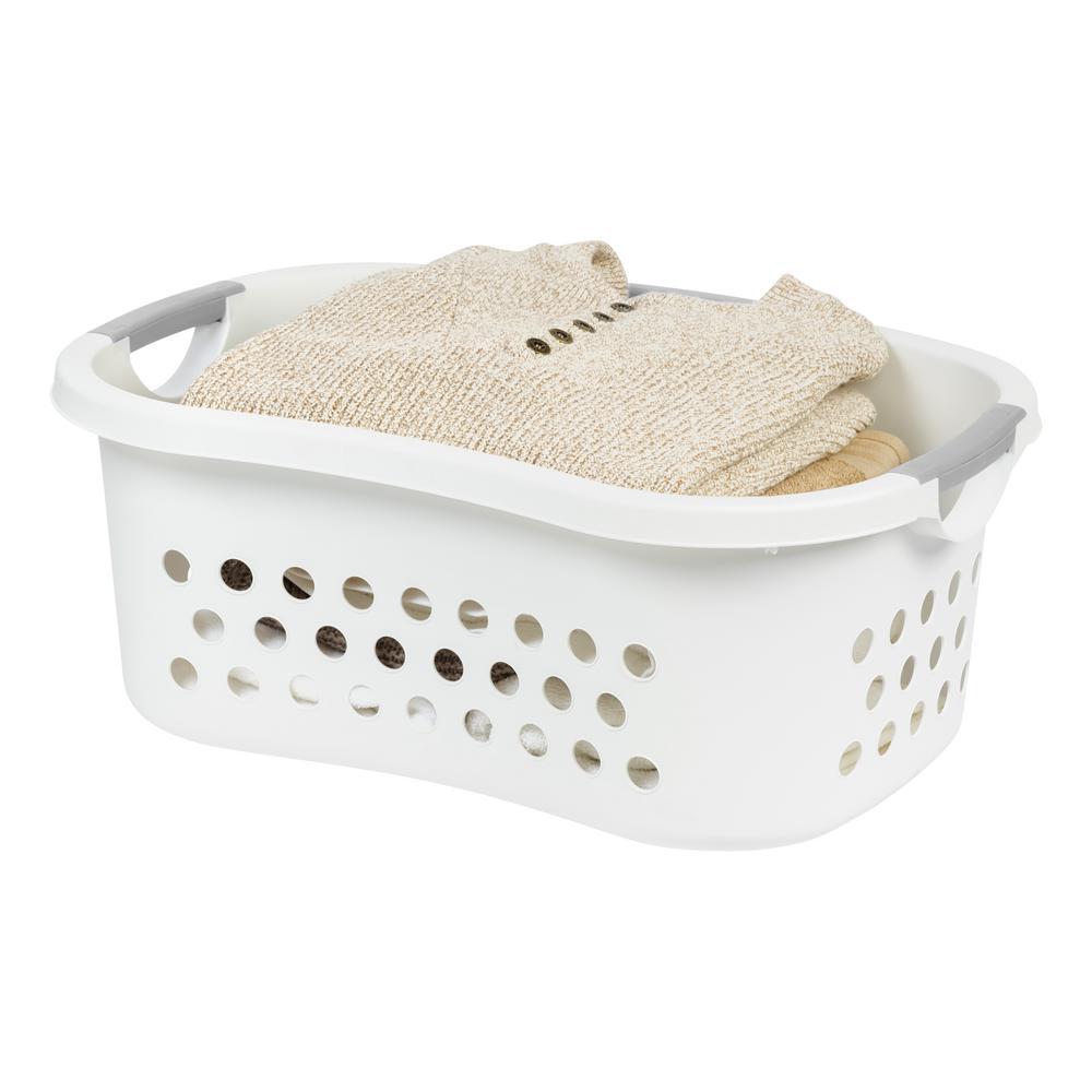 Iris White Comfort Carry Plastic Laundry Basket