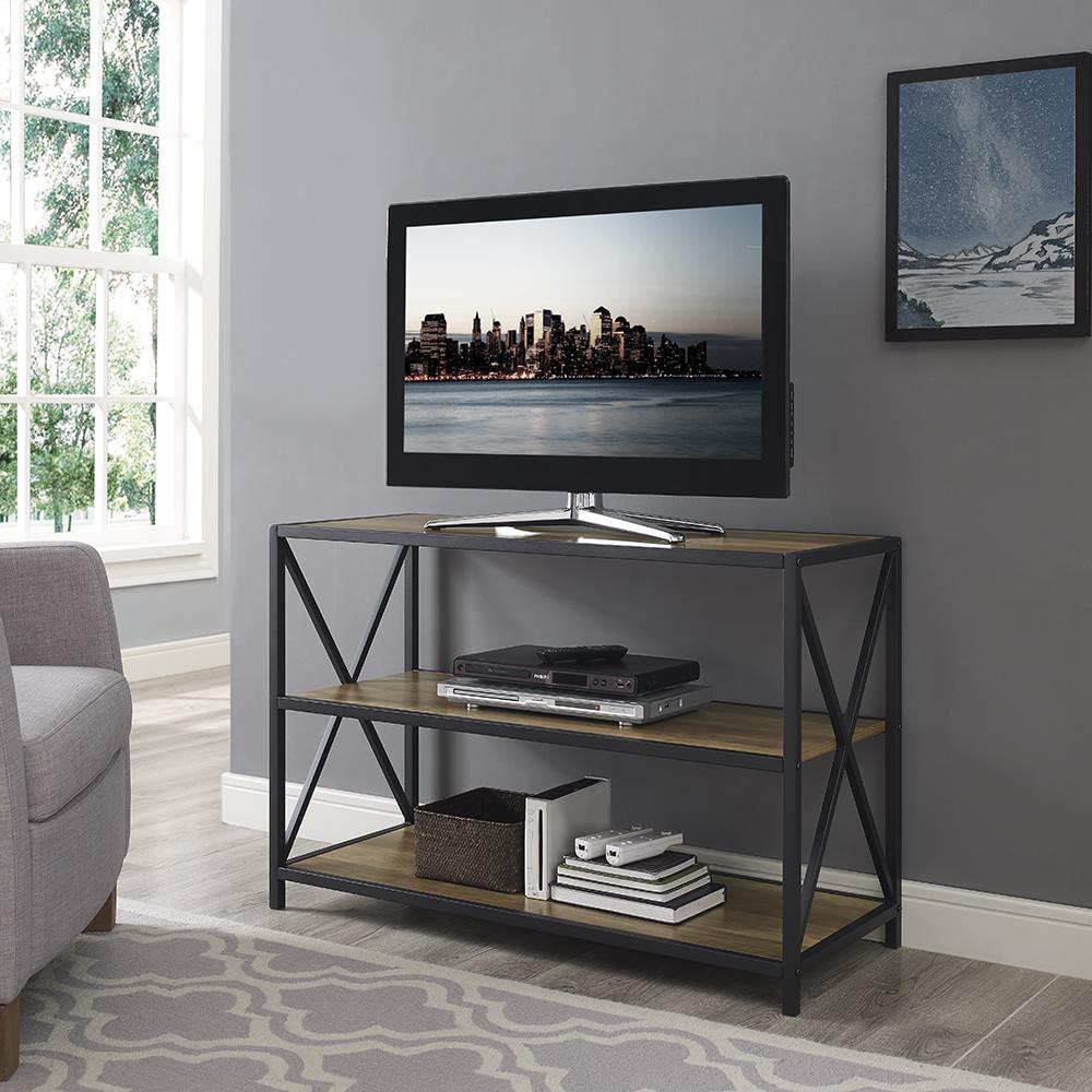 Walker Edison Furniture Company 40 In X Frame Metal And Wood Media Bookshelf