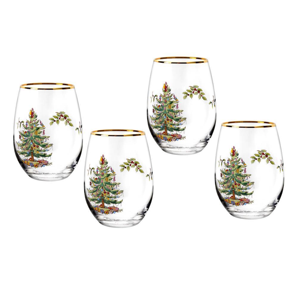 Christmas Tree 4-Piece Glass Stemless Wine Set