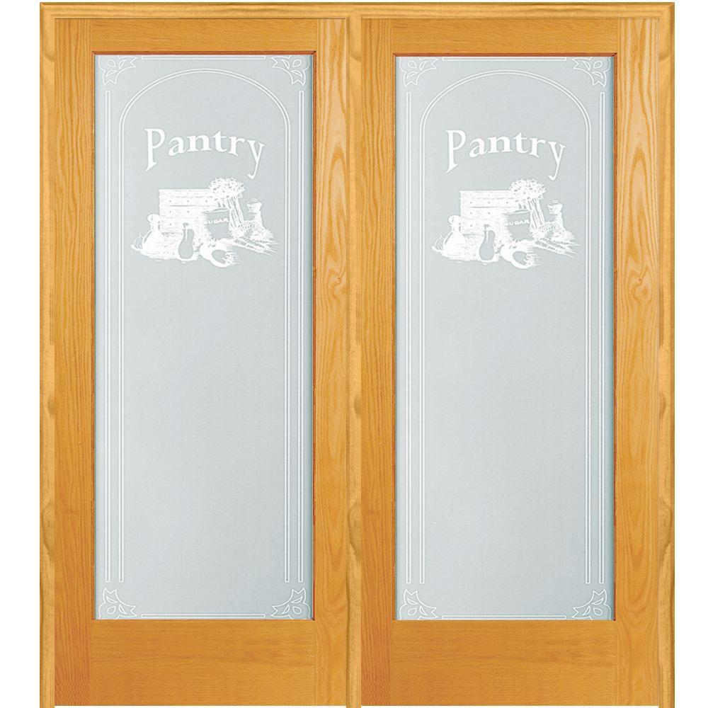 60 in. x 80 in. Right Hand Active Unfinished Pine Pantry