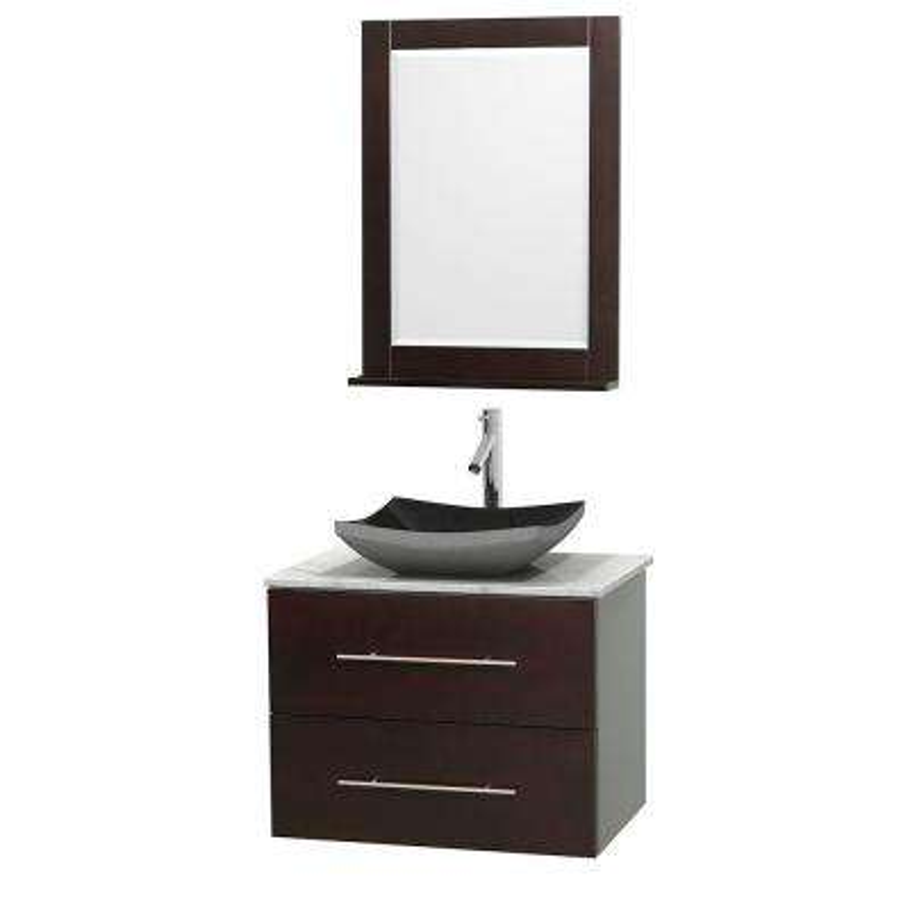 Centra 30 in. Vanity in Espresso with Marble Vanity Top in Carrara White, Black Granite Sink and 24 in. Mirror