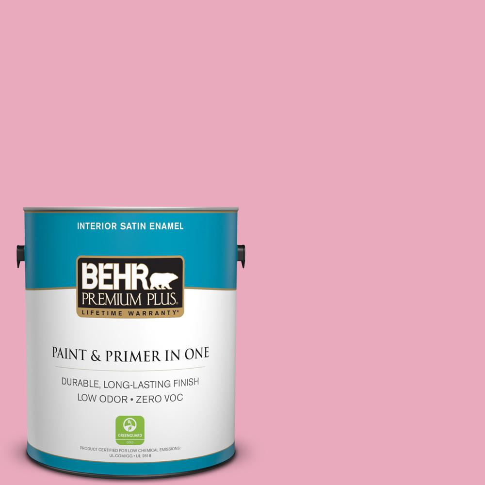 BEHR Premium Plus 1-gal. #T11-14 Kawaii Zero VOC Satin Enamel Interior Paint