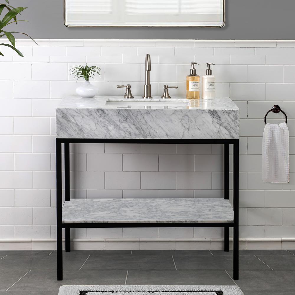 Loire White 36 in. W x 22.05 in. D x 35.83 in. H Bathroom Vanity with Marble Vanity Top and Single Basin