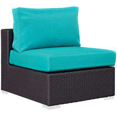 Convene Patio Wicker Armless Middle Outdoor Sectional Chair in Espresso with Turquoise Cushions