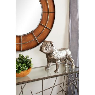 Large Metallic Silver Bulldog Statue with Crackle Texture