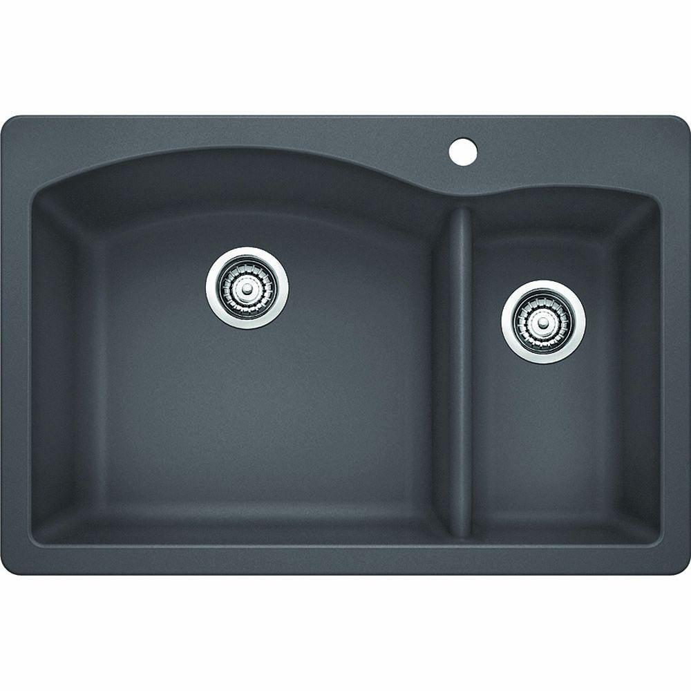 blanco diamond dual mount granite composite 33 in 1 hole 1 1 2 double bowl kitchen sink in. Black Bedroom Furniture Sets. Home Design Ideas