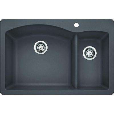 Diamond Dual Mount Granite Composite 33 in. 1-Hole 1-1/2 Double Bowl Kitchen Sink in Cinder