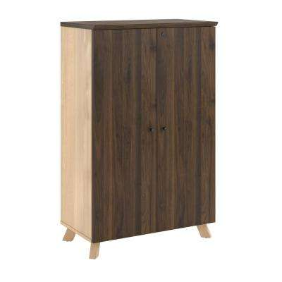 AX1 L-Shape Walnut Desk and Storage Cabinet Bundle
