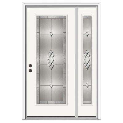 52 in. x 80 in. Full Lite Kingston Primed Steel Prehung Right-Hand Inswing Front Door with Right-Hand Sidelite