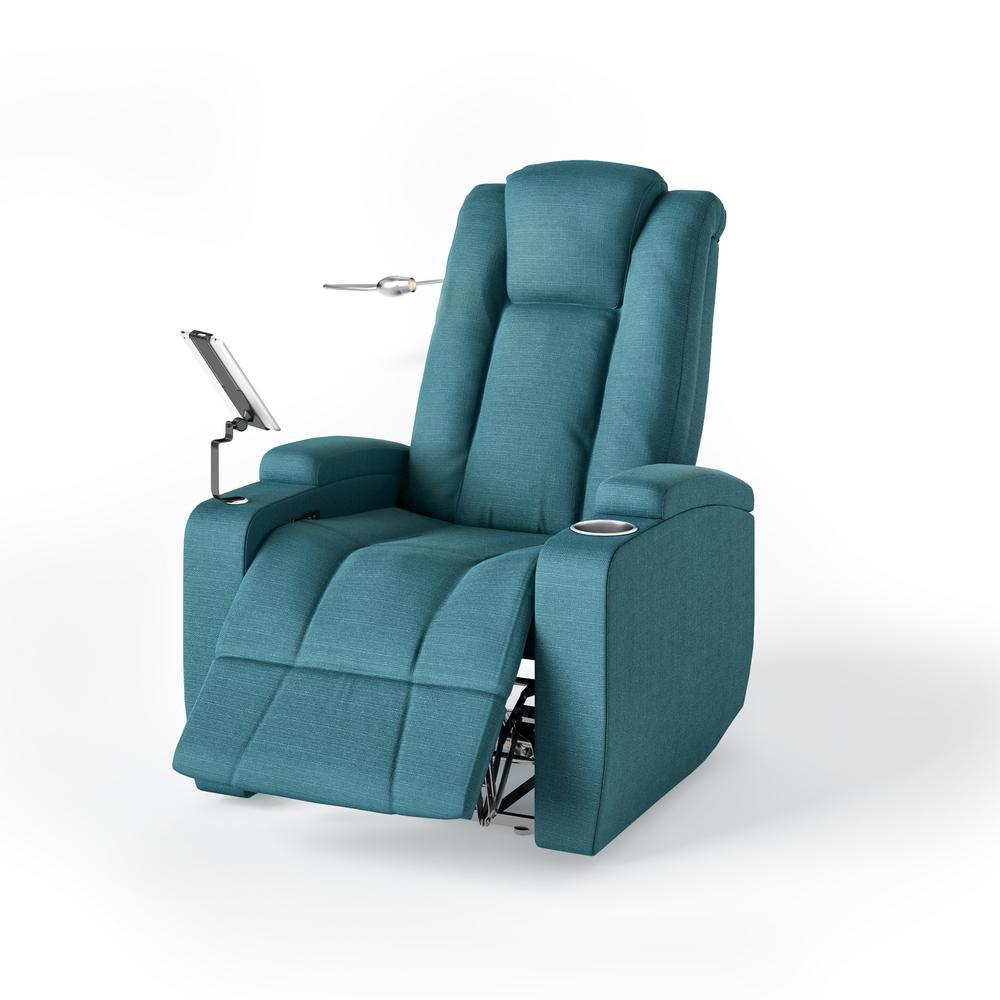 Upholstered Power Smart Reclining Chair in Caribbean Blue Linen