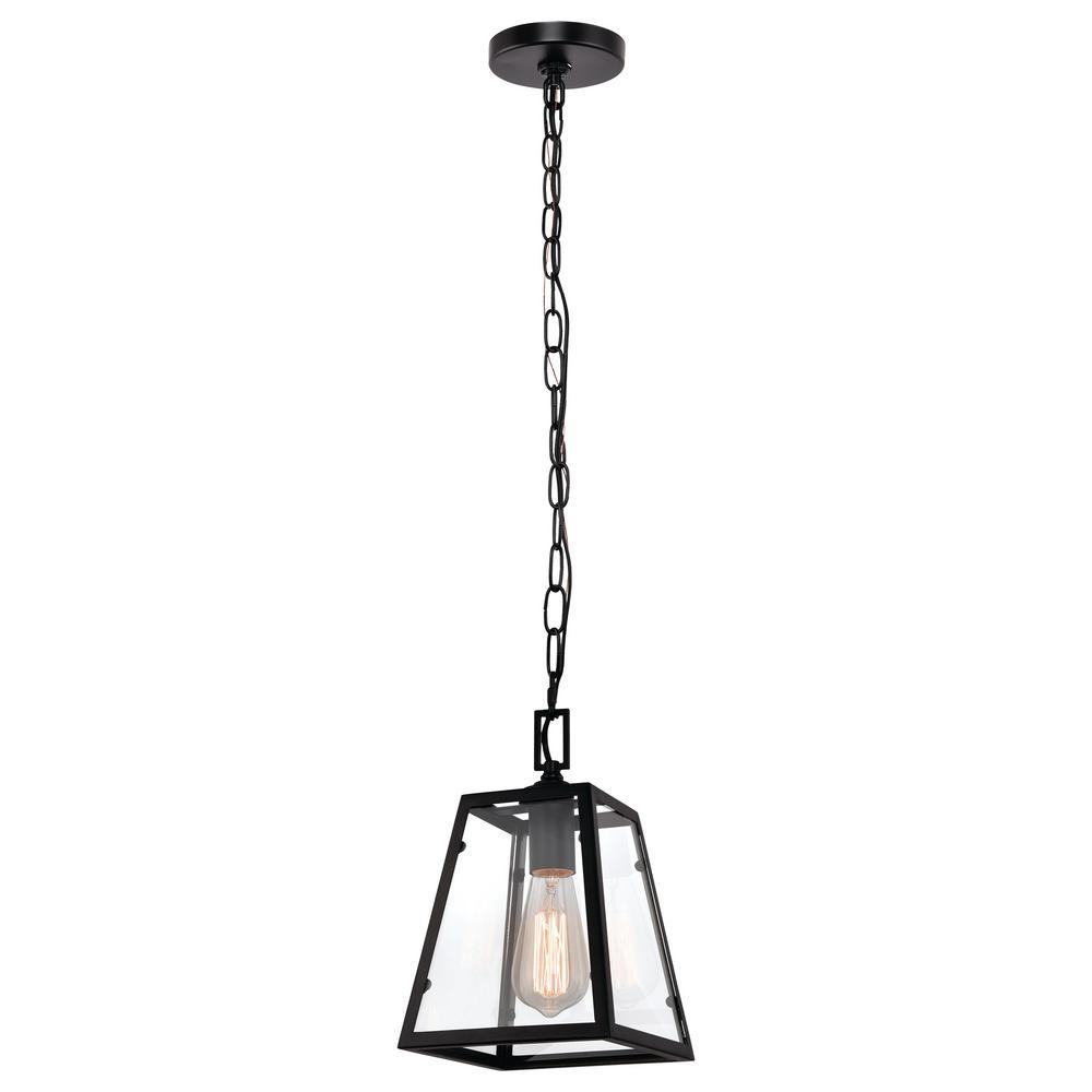 1-Light Matte Black and Glass Mini Pendant