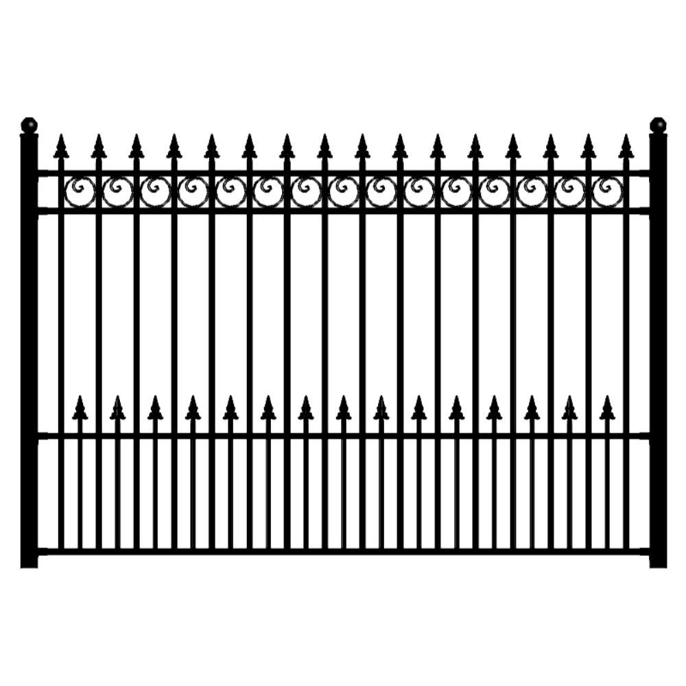 Aleko Prague Style 5 Ft X 8 Ft Black Iron Fence Panel Fencepra Hd The Home Depot