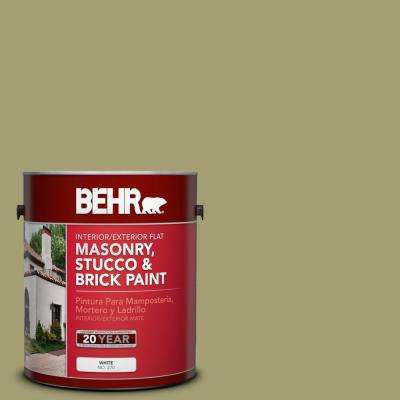 1 gal. #PPU9-4 Fresh Olive Flat Interior/Exterior Masonry, Stucco and Brick Paint