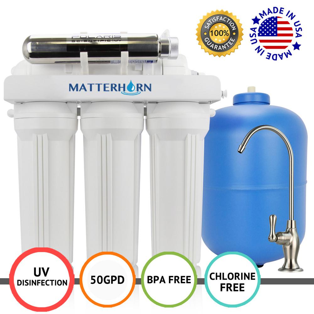 0dbcb569e Matterhorn 6-Stage Under-Sink Superior Reverse Osmosis UV Water Filter  System 50 GPD