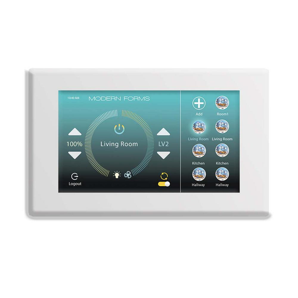 Modern Forms Wi-Fi Touch Panel Ceiling Fan Wall Control with Mounting Bracket in White