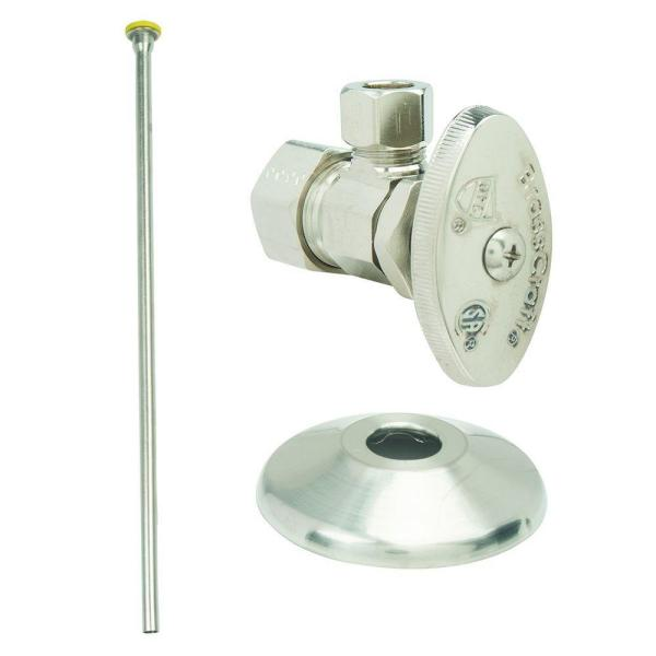 Toilet Kit: 1/2 in. Nom Comp x 3/8 in. O.D. Comp Multi-Turn Angle Valve with 20 in. Riser and Flange in Satin Nickel