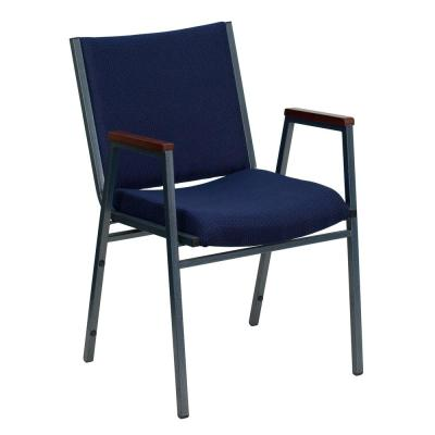 Navy Patterned Fabric Stack Chair