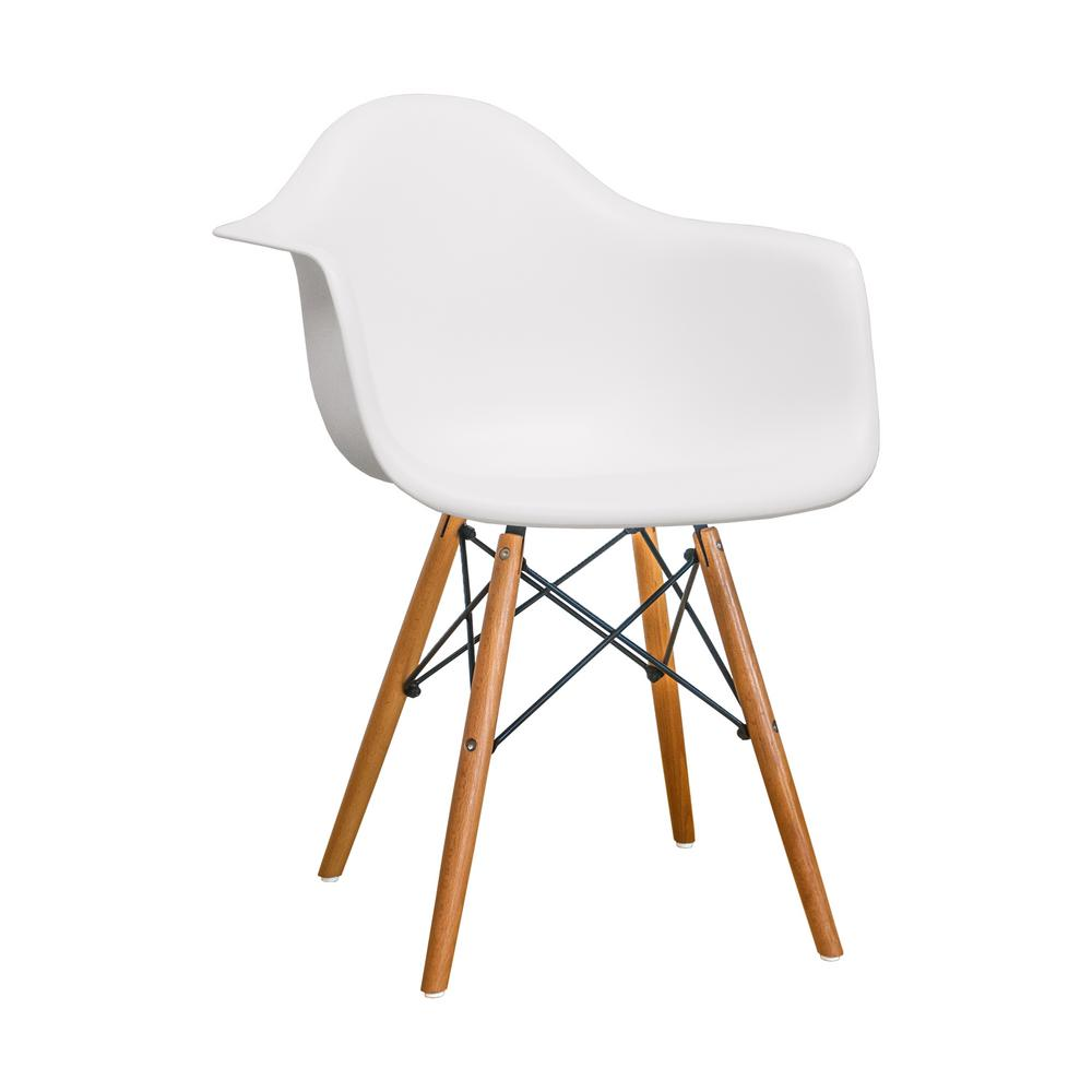 Paris Tower Dining White Arm Chair With Wood Legs Set Of 2