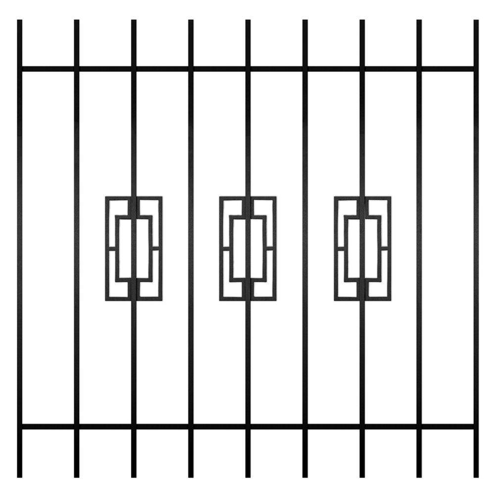 Unique Home Designs Modern Trifecta 48 in. x 48 in. Black 9-Bar Window Guard-DISCONTINUED