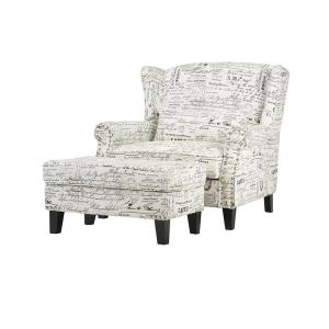 buy popular 9a2fe 4bff8 Zoey Script White Polyester Arm Chair with Ottoman