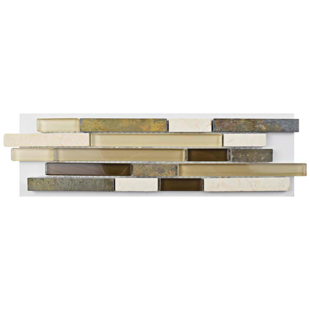 Merola Tile Tessera Piano Brixton Glass and Stone Mosaic Tile - 3 ...