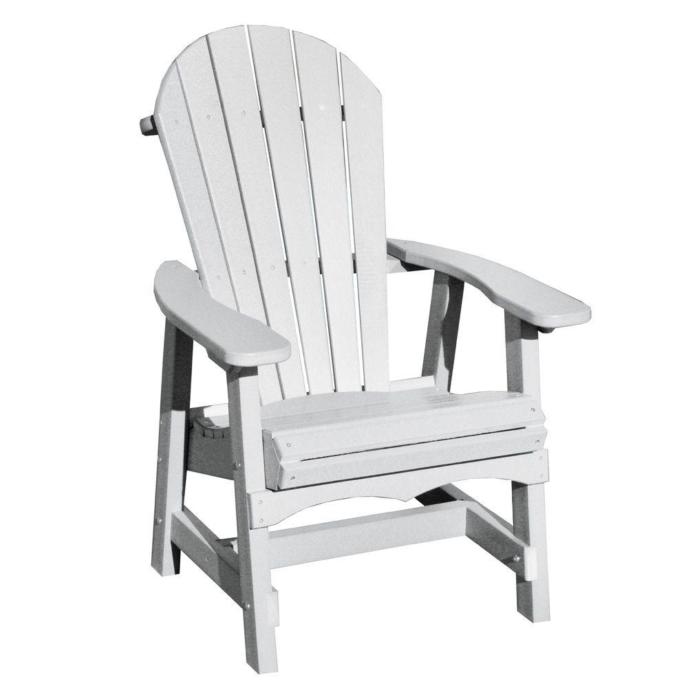 Vifah Roch Recycled Plastics Adirondack Patio Dining Chair in White-DISCONTINUED