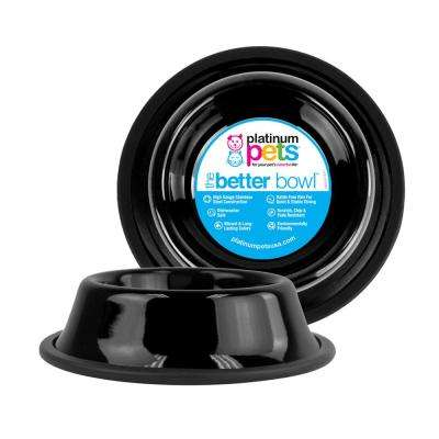 6.25 Cup Non-Tip Stainless Steel Dog Bowl, Midnight Black